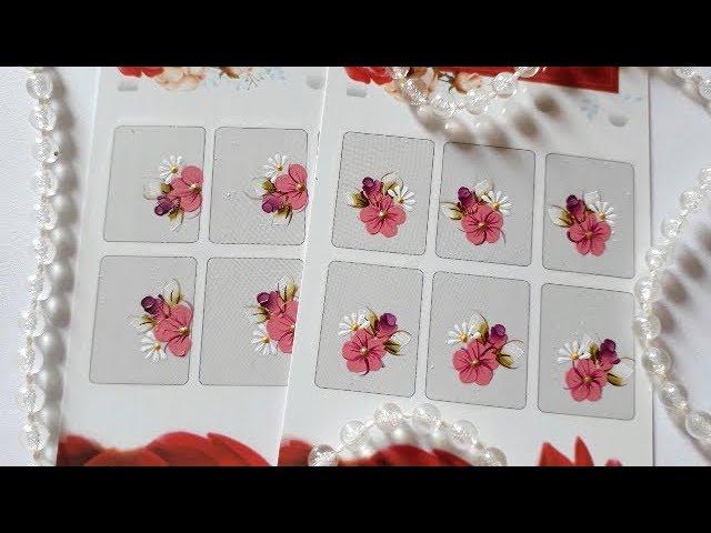 Flor simples com botão carga dupla e mini margarida - Como Fazer Adesivos para as unhas