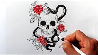 Как нарисовать Тату Череп со Змеей и Розами (Ehedov Elnur) How to draw a Skull tattoo step by step