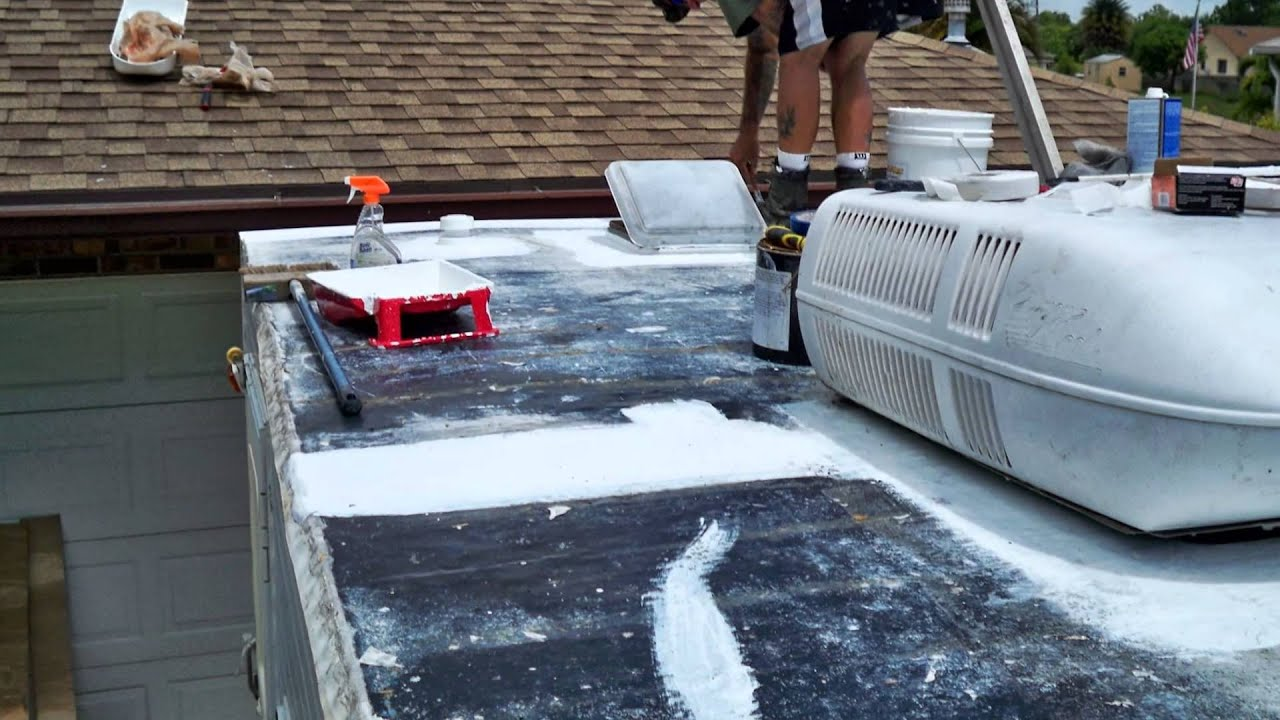 rv rubber roof leak repair by never leak rv roofing youtube