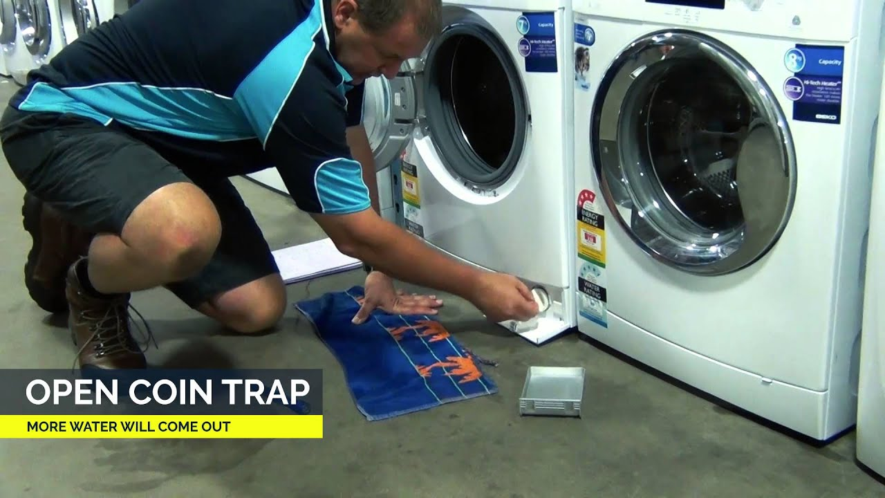 Cleaning Front Load Washing Machine How To Clean Coin Trap On Front Loader Washing Machines Youtube
