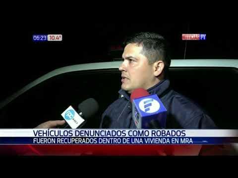 Policía recupera vehículos robados en taller de Mariano Roque Alonso