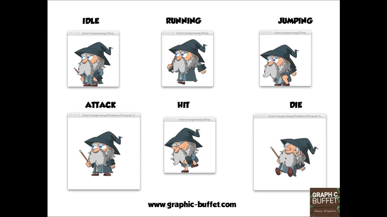 Animated Characters: Wizard  2d Game Graphics And Game Sprites