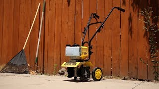 Overview: Champion 43cc 2-Stroke Portable Gas Garden Cultivator with Adjustable Depth