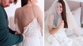 TRYING ON MY WEDDING DRESS!