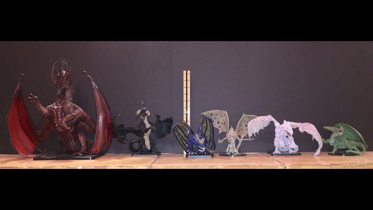 Pathfinder Size Comparison >> D&D Pathfinder Colossal & Gargantuan Dragon Miniatures Comparison & Review - YouTube