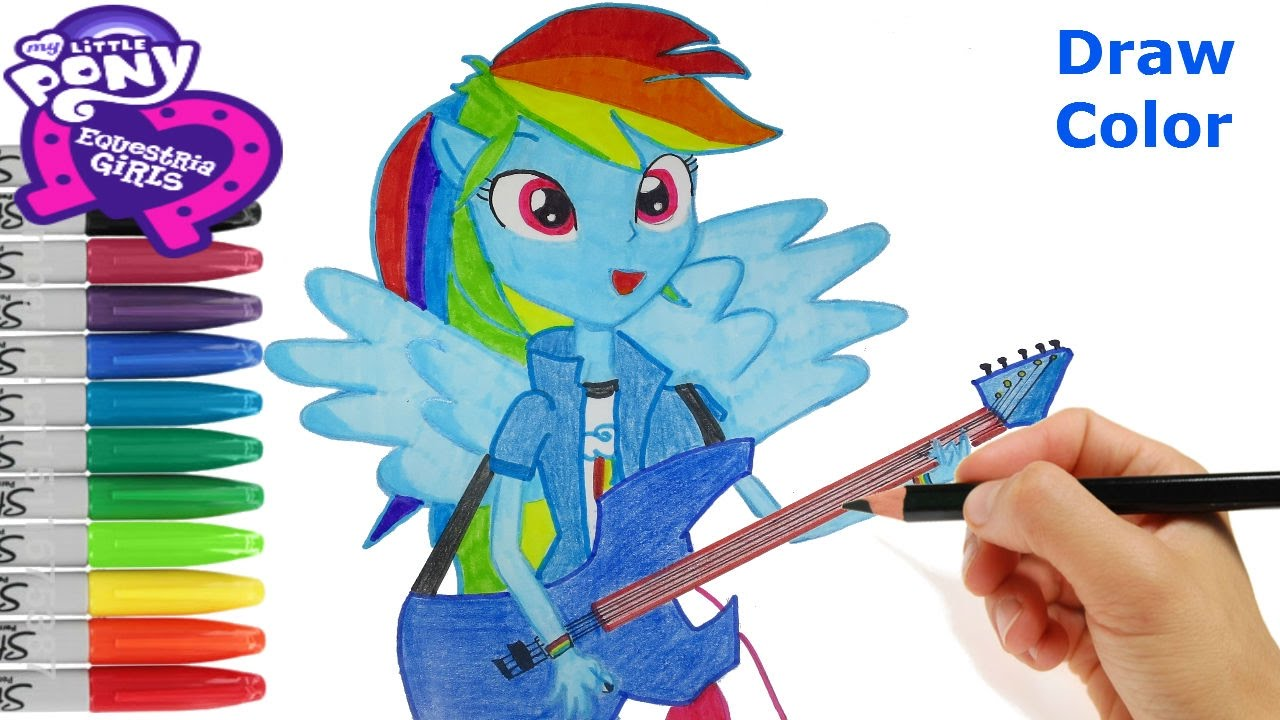 My Little Pony Equestria girls How to Draw Rainbow Dash Coloring