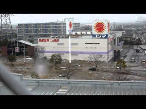 Tsunami in Tagajo, Miyagi Prefecture, view from the roof of the AEON department store