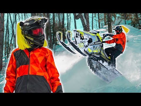 The Best Snowmobiling in the Midwest! Riding Turbo Polaris Snowmobile at Low Elevation..