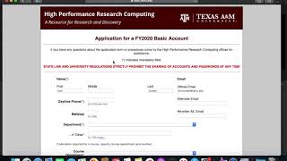 HPRC Intro: #1 Applying For Accounts