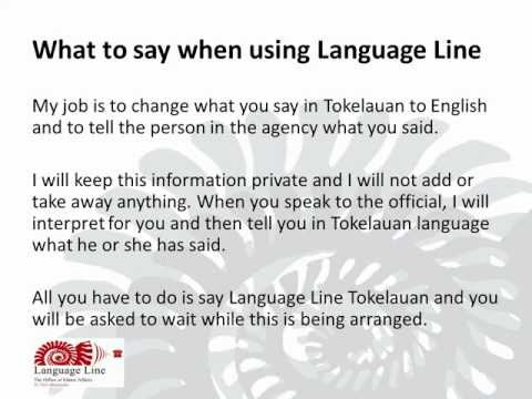 What to say when using Language Line - Tokelauan