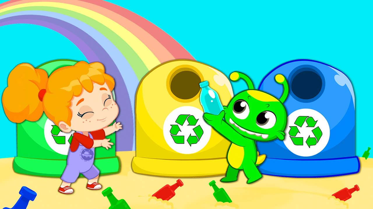 Groovy The Martian sings Clean up & recycle song   Nursery Rhymes for kids