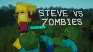 STEVE VS ZOMBIES BATTLE   Realistic Minecraft Animation