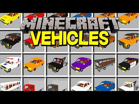 Minecraft VEHICLES MOD!   100+ NEW CARS, TRUCKS, POLICE CARS, & MORE!   Modded Mini-Game