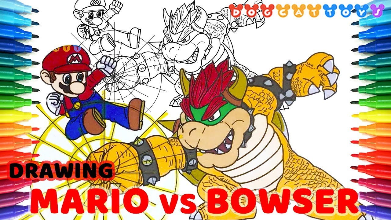 Drawing Super Smash Bros Mario Vs Bowser 120 Drawing Coloring