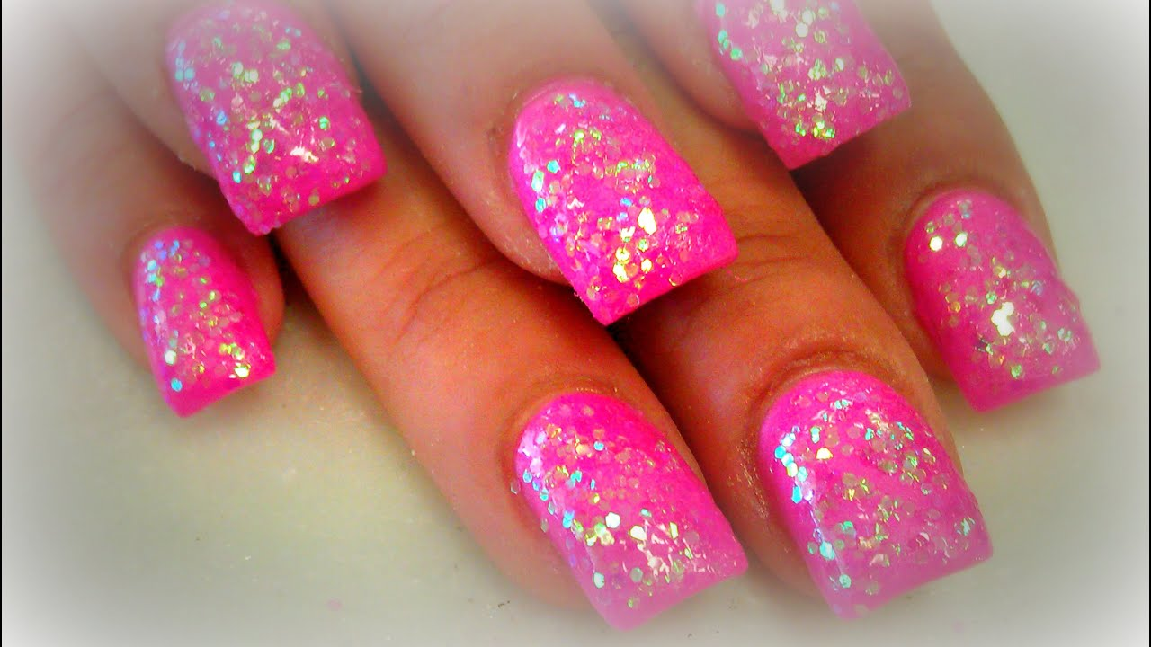 Diy pink glitter nails youtube prinsesfo Images