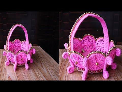 How To Make Flower Basket Using Woolen    Easy Woolen Craft Flower Vase Idea    DIY Woolen Craft