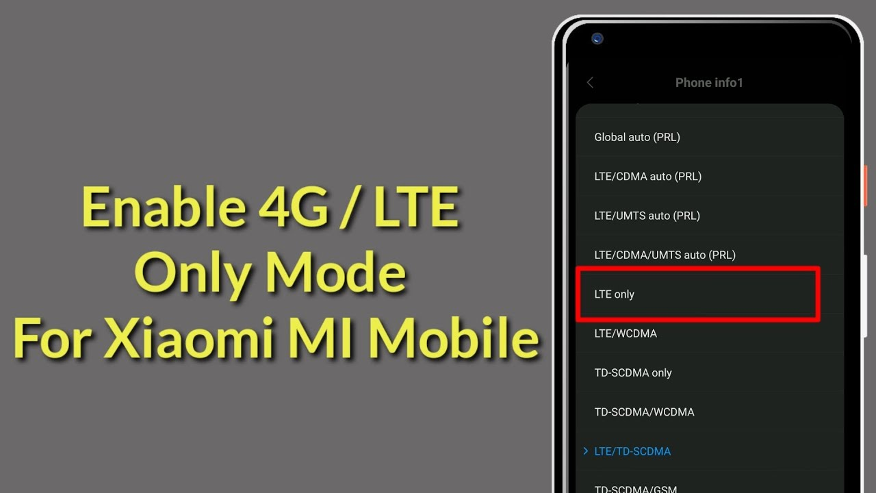 How To Enable 4G / LTE Only Mode for Xiaomi MI Mobile