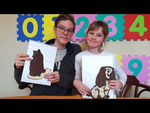 Рисуем картины шоколадом. Шоколадный кот и собака