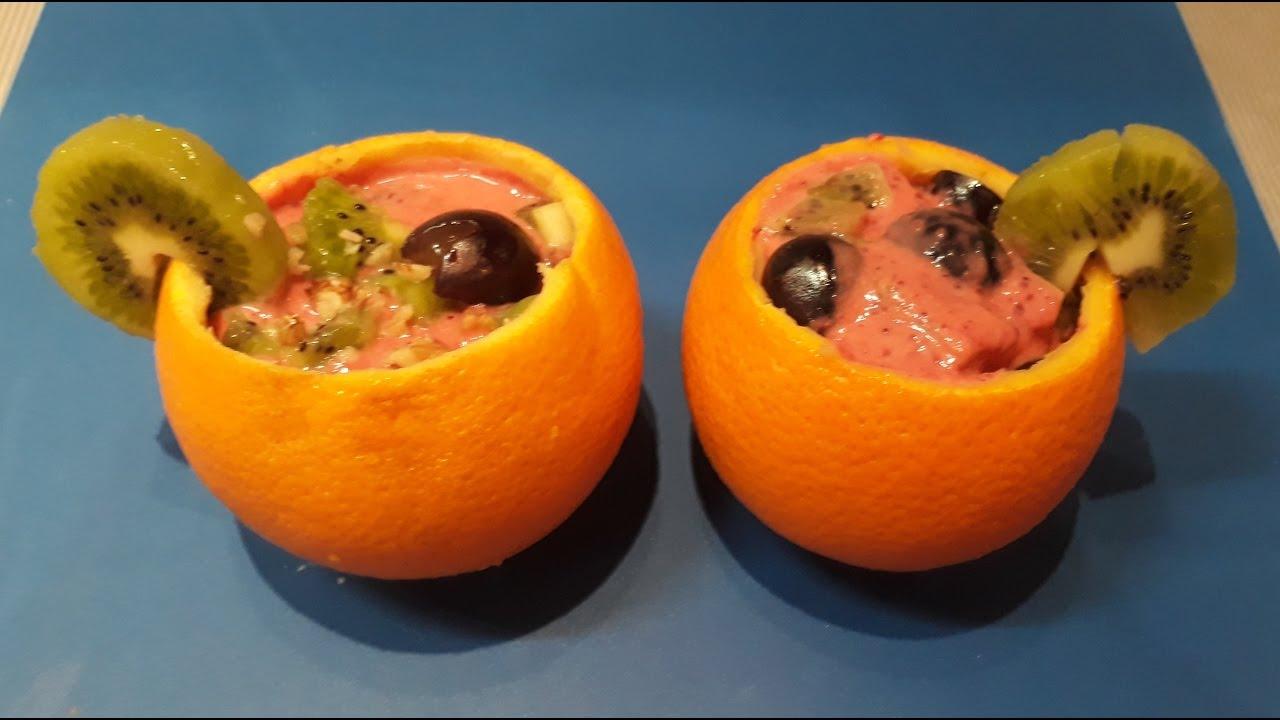 Как приготовить весенний витаминный фруктовый салат в апельсине