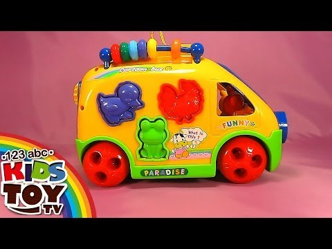 Thumbnail: Yellow bus. Cheerful videos for development of children. Sorter. Learn animals. Teach figures.