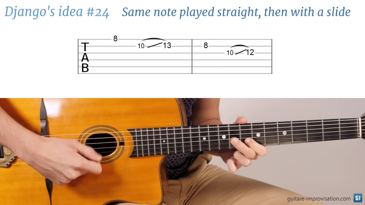 Django Reinhardt lick #24 : Same note played straight, then with a slide