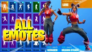 Fortnite LUXE Skin Dances with ALL Emotes Showcase