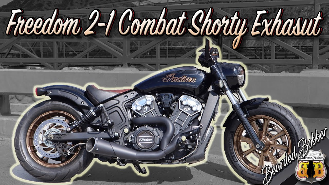 freedom performance 2 1 combat shorty exhaust for indian scout bobber