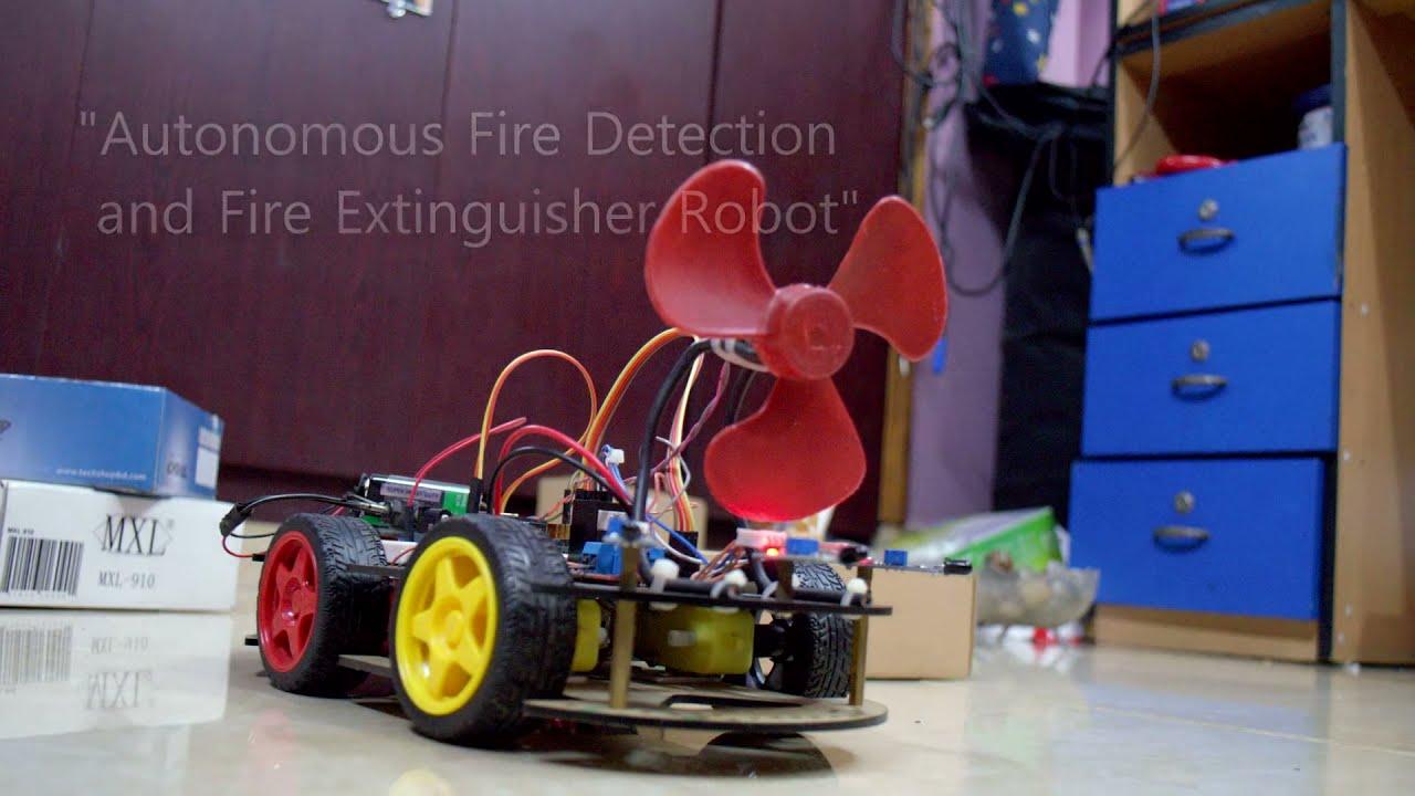 Autonomous fire detecting and extinguishing robot