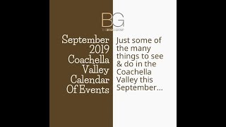 September 2019 Coachella Valley Calendar Of Events