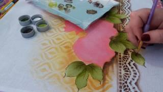 Pintura com stencil (bule redondo com Rosas) parte 2