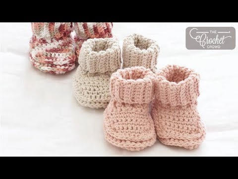 How To Crochet Baby Booties Rolled Down Youtube