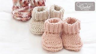 Crochet Rolled Down Booties