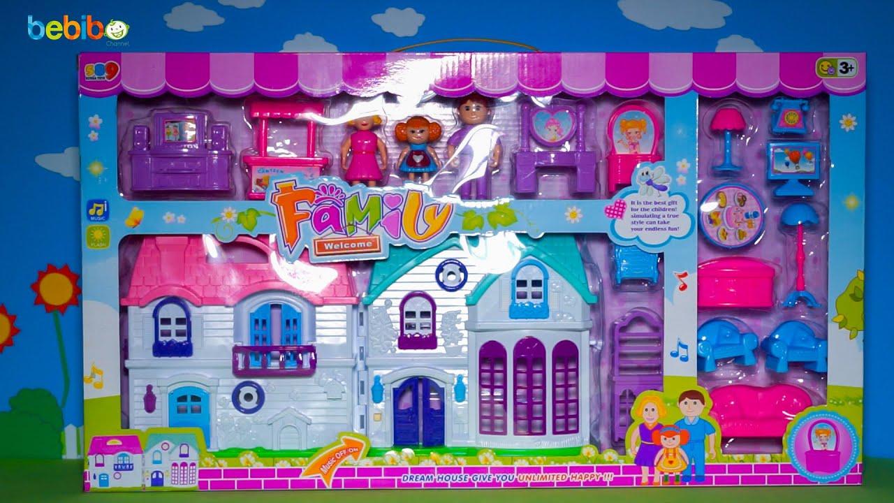 Bộ đồ chơi ngôi nhà búp bê cho bé gái – Mở hộp, giới thiệu và chơi cùng bé