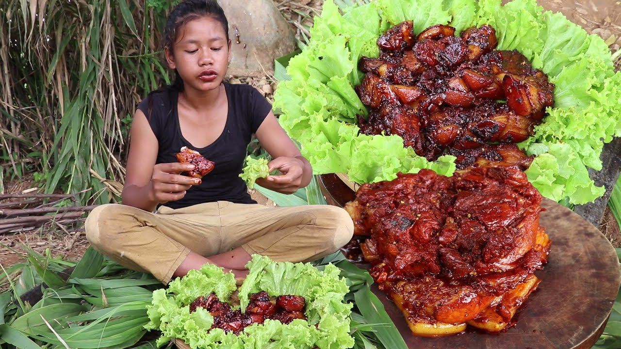 Yummy cook Pork tasty with salad for food - Pork curry spicy for eating delicious