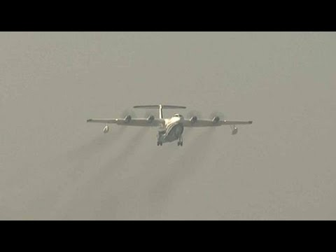 Maiden flight of amphibious plane