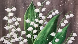 Easy Flowers Lily of the Valley Acrylic Painting Tutorial LIVE