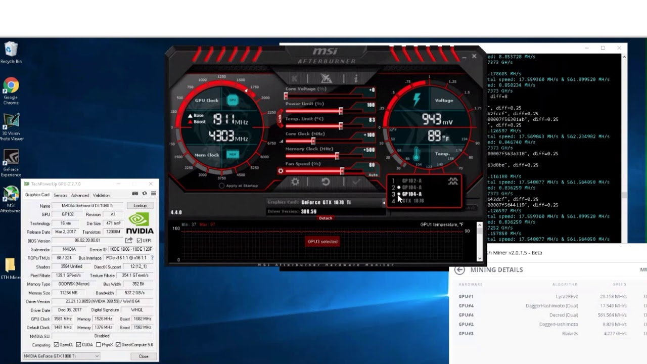 Increase GPU Mining - Overclocking & Undervolting MSI Afterburner 1070 1080  TI Graphics Card