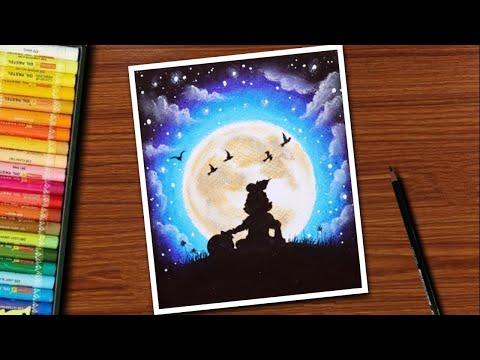 Krishna Janmashtami Drawing / Janmashtami Drawing with Oil Pastel /
