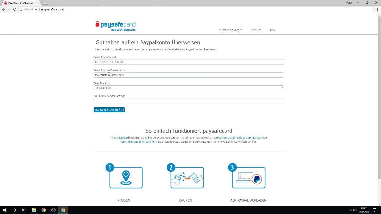 Mit Paysafecard Paypal Aufladen