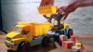 Big yellow truck and big excavator. Toys game story...