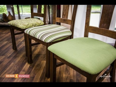 reupholster dining chairs small kitchen table and uk basic upholstering diy by tanya memme as seen on home family hallmark channel