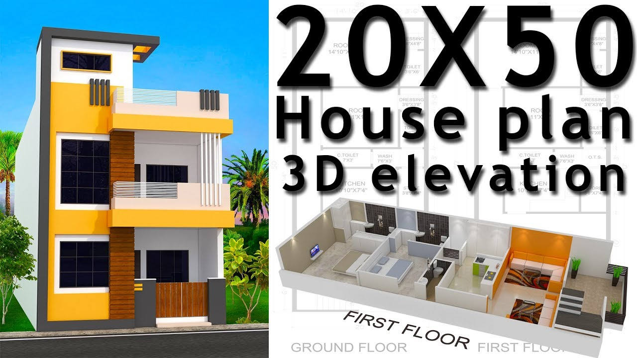 20x50 House Plan With 3d Elevation By Nikshail Youtube