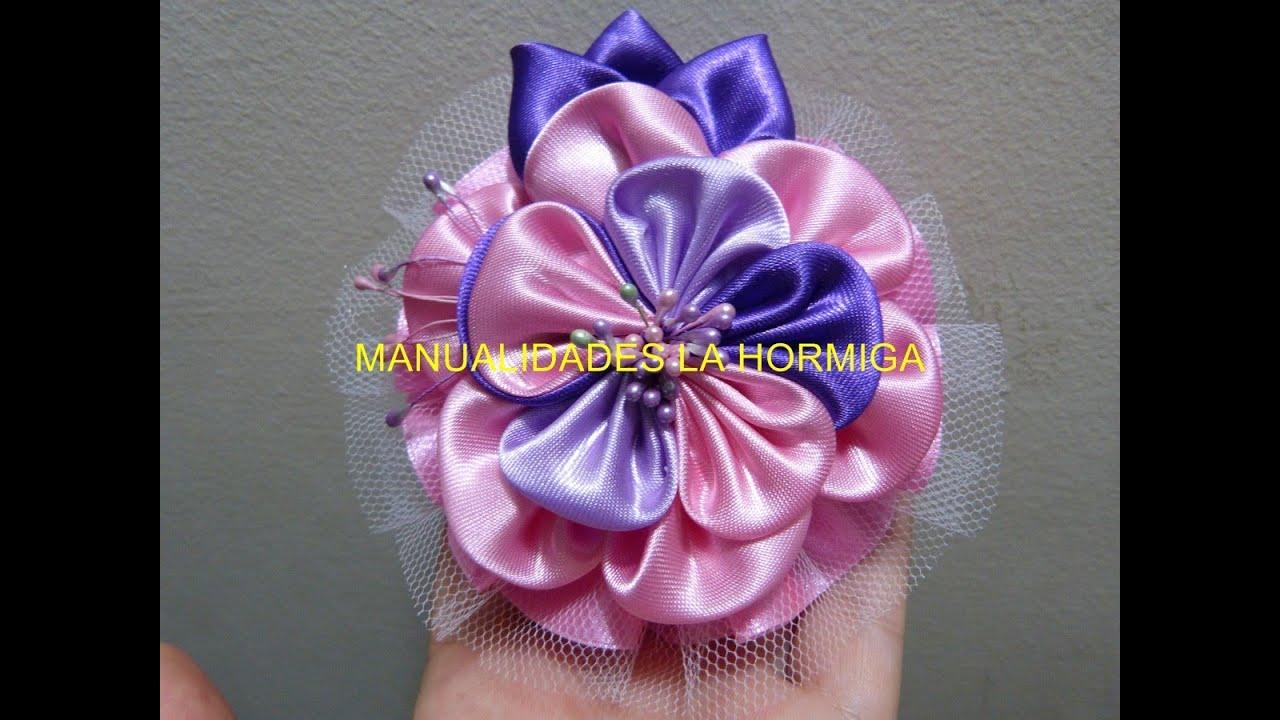 Como hacer lazos con flor kanzashi en tela how to make - Www como hacer flores com ...