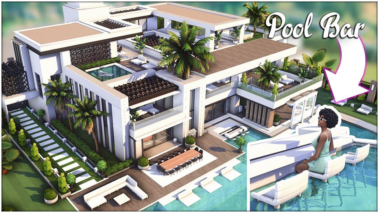 Modern MANSION w/ POOL BAR [No CC] - Sims 4 Speed Build   Kate Emerald