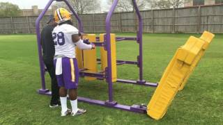 LSU running backs coach Tommie Robinson on first day of spring practice
