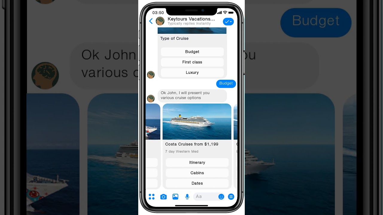 Cruise booking using AI Virtual Assistant