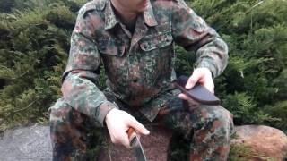 Обзор заказного ножа из х12мф и рога лося, ножны кожа буйвола