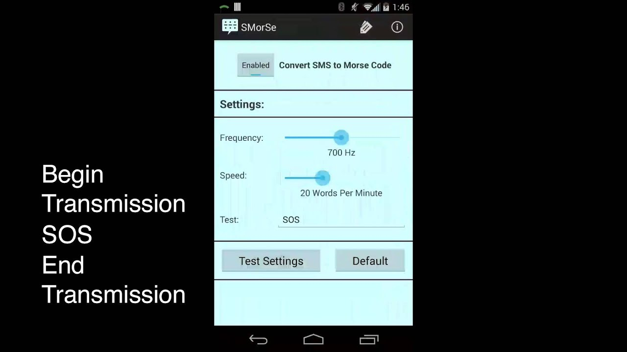 Receive Text Messages in Morse Code - Android