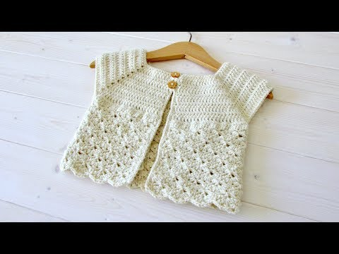 How to crochet a little girl's classic shell stitch cardigan / sweater
