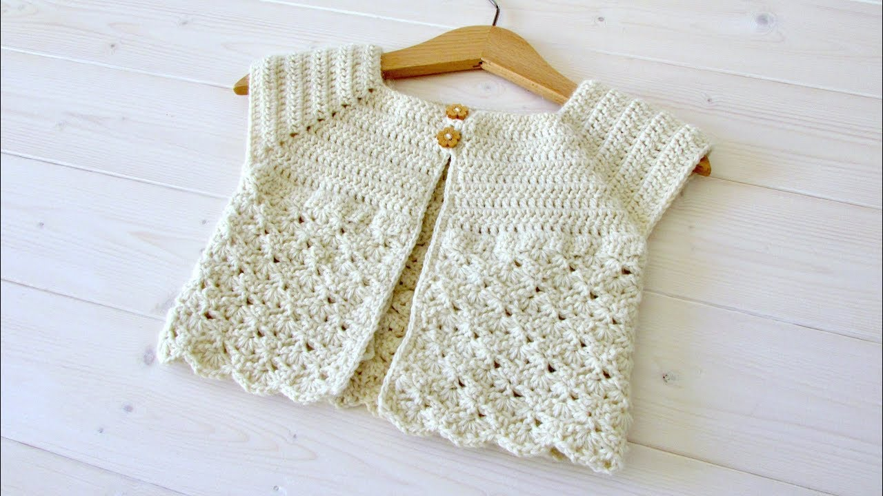 How To Crochet A Little Girls Classic Shell Stitch Cardigan